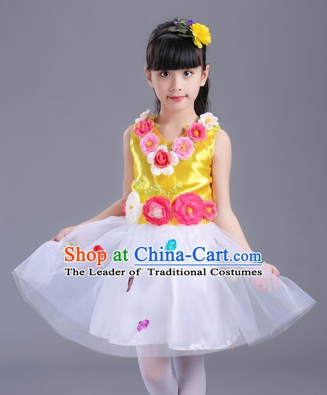 Top Grade Flower Faerie Modern Dance Costume, Children Chorus Singing Group Dance Yellow Dress for Kids