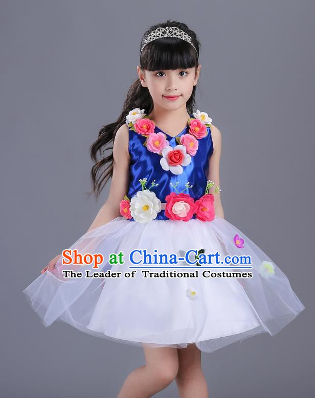 Top Grade Flower Faerie Modern Dance Costume, Children Chorus Singing Group Dance Royalblue Dress for Kids