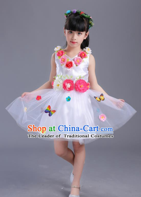 Top Grade Flower Faerie Modern Dance Costume, Children Chorus Singing Group Dance White Dress for Kids