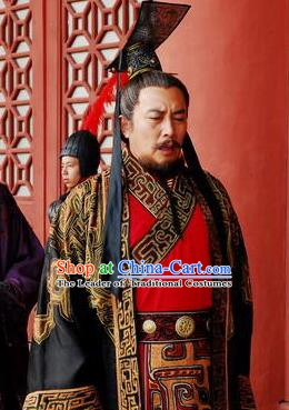 Chinese Ancient Qin Dynasty First Emperor Replica Costume for Men