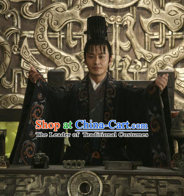 Chinese Ancient Han Dynasty Emperor Liu Heng Replica Costume and Headpiece Complete Set for Men