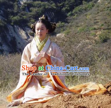 Traditional Chinese Han Dynasty Dowager Xin Zhui Hanfu Dress Ancient Replica Costume for Women