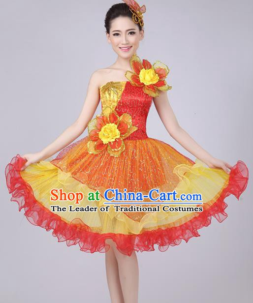 Top Grade Stage Performance Compere Costume, Professional Chorus Singing Red Bubble Dress for Women