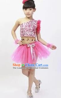 Top Grade Stage Performance Latin Dance Costume, Professional Modern Dance Pink Bubble Dress for Kids