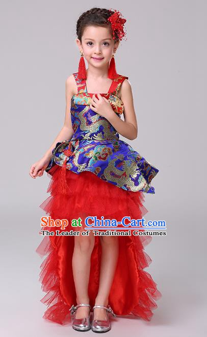 Top Grade Stage Performance Dance Costume, Professional Modern Dance Blue Trailing Dress for Kids