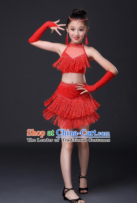 Top Grade Stage Performance Jazz Dance Costume, Professional Modern Dance Red Tassel Dress for Kids