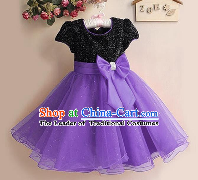 Top Grade Stage Performance Children Compere Costume, Professional Chorus Singing Purple Dress for Kids