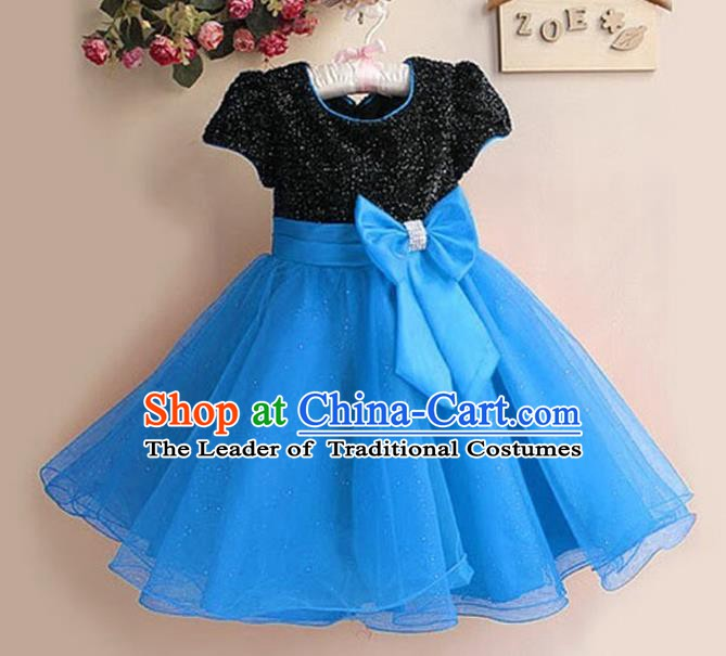 Top Grade Stage Performance Children Compere Costume, Professional Chorus Singing Blue Dress for Kids