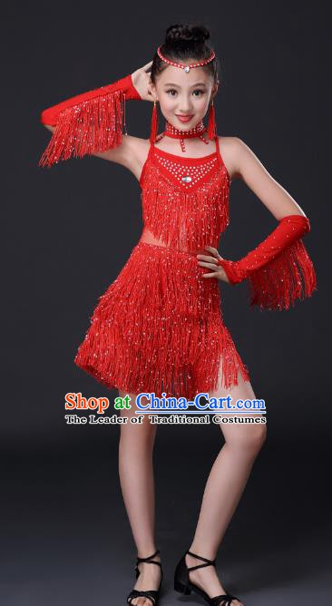 Top Grade Stage Performance Jazz Dance Costume, Professional Modern Dance Red Tassel Uniforms for Kids