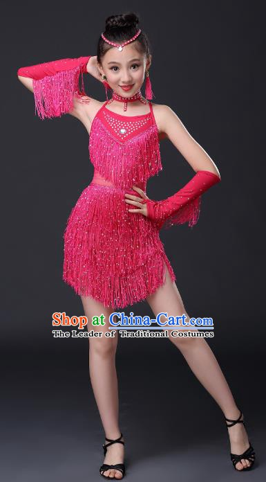Top Grade Stage Performance Jazz Dance Costume, Professional Modern Dance Rosy Tassel Uniforms for Kids