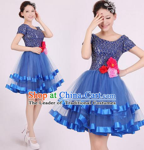 Top Grade Stage Performance Dance Chorus Costume, Professional Modern Dance Blue Bubble Dress for Women