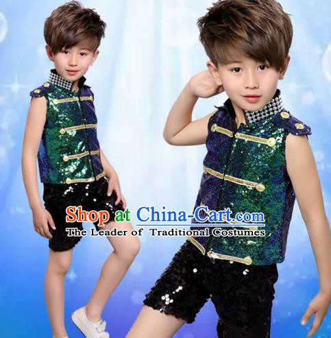 Top Grade Stage Performance Boys Jazz Dance Costume, Professional Compere Modern Dance Clothing for Kids