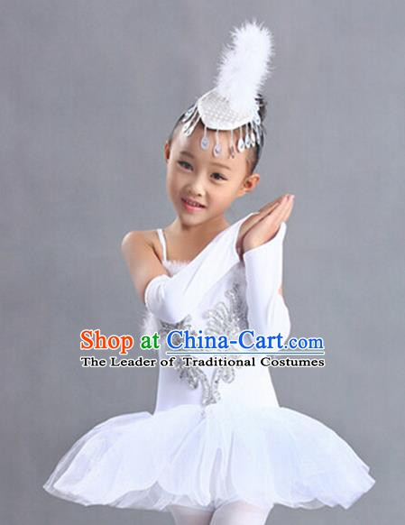 Top Grade Stage Performance Swan Dance Costume, Professional Ballet Modern Dance Clothing for Kids