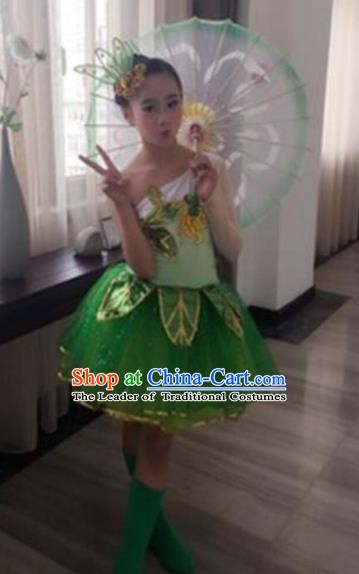 Top Grade Stage Performance Lotus Dance Costume, Professional Classical Dance Green Clothing for Kids