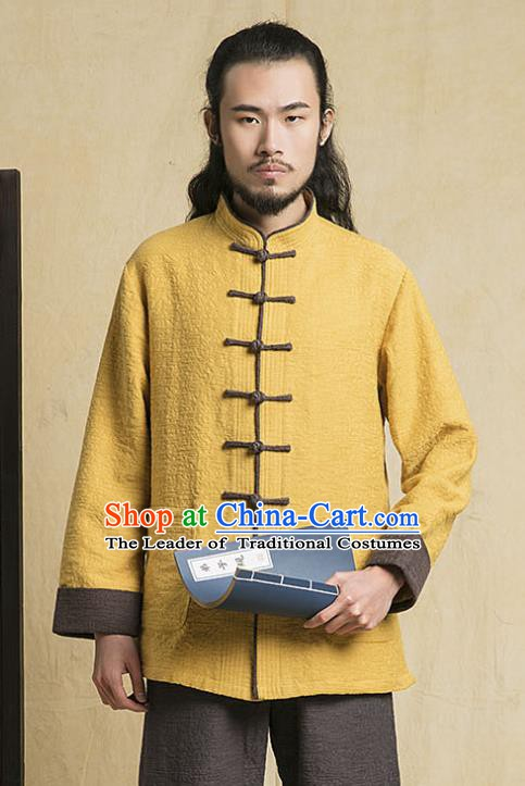 Top Grade Kung Fu Yellow Costume Martial Arts Training Plated Buttons Gongfu Wushu Tang Suit Clothing for Men