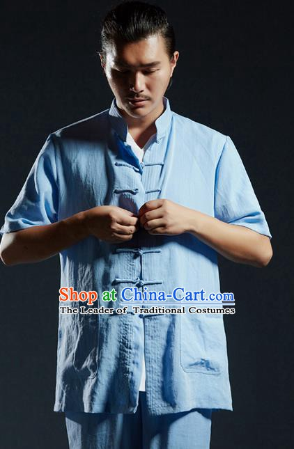 Chinese Kung Fu Costume Martial Arts Plated Buttons Blue Shirts Gongfu Wushu Tang SuitsTai Chi Clothing for Men
