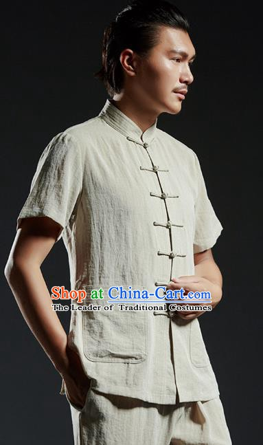 Chinese Kung Fu Costume Martial Arts Plated Buttons Beige Shirts Gongfu Wushu Tang SuitsTai Chi Clothing for Men