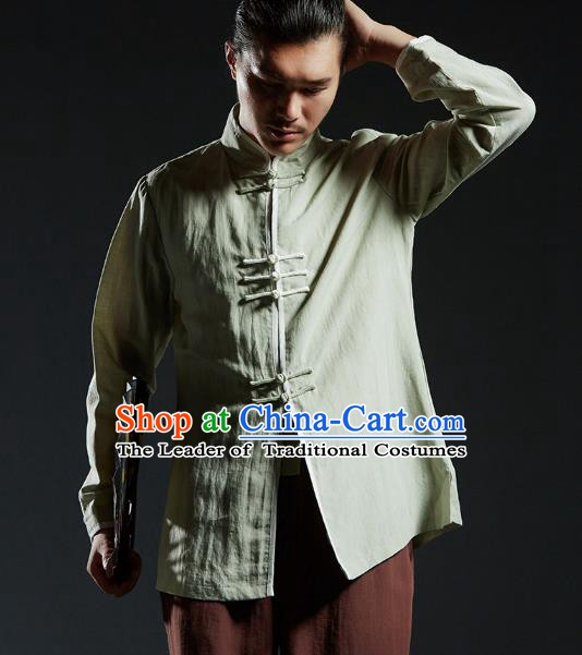 Chinese Kung Fu Costume Plated Buttons Green Linen Shirts Martial Arts Gongfu Wushu Tang SuitsTai Chi Clothing for Men