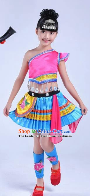 Traditional Chinese Ethnic Costume Chinese Miao Minority Nationality Dance Clothing for Kids
