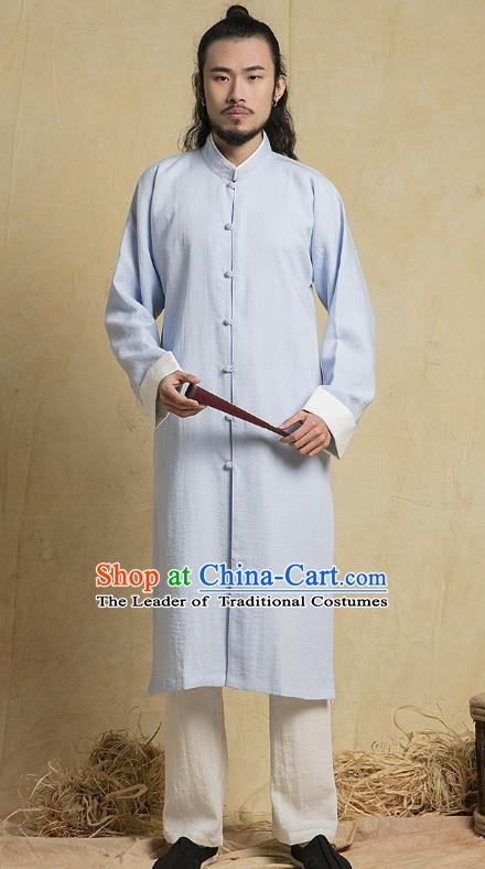 Chinese Kung Fu Costume Plated Buttons Blue Gown Martial Arts Gongfu Wushu Tang Suits Tai Chi Clothing for Men