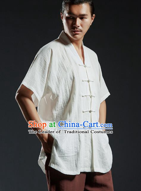 Chinese Kung Fu Costume Tang Suits White Shirts Martial Arts Gongfu Wushu Tai Chi Clothing for Men