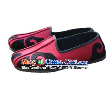Chinese Traditional Handmade Tai Chi Red Cloth Shoes Martial Arts Shoes Kung Fu Shoes for Men