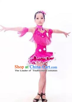 Top Grade Stage Performance Latin Dance Costume, Professional Modern Dance Rosy Dress for Kids