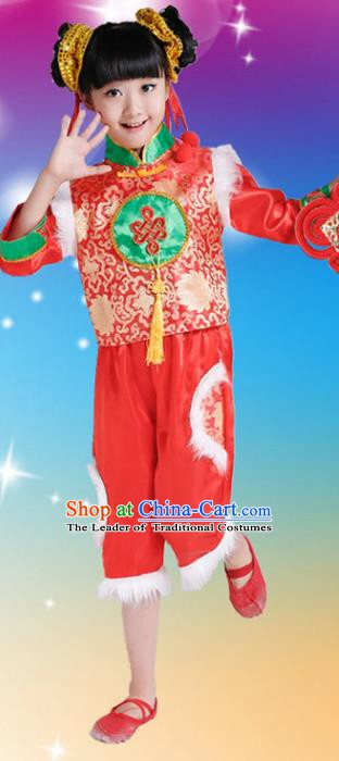 Chinese Traditional Yangge Dance Uniform Classical Dance Yangko Clothing for Kids