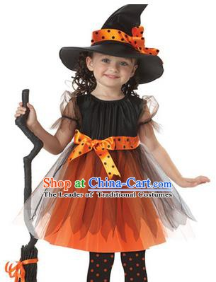 Top Grade Stage Performance Costume, Professional Halloween Cosplay Witch Dress for Kids
