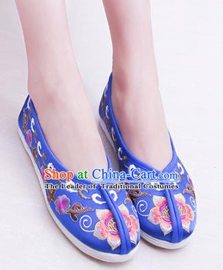 Chinese Traditional Handmade Embroidery Shoes Blue Embroidered Shoes for Women