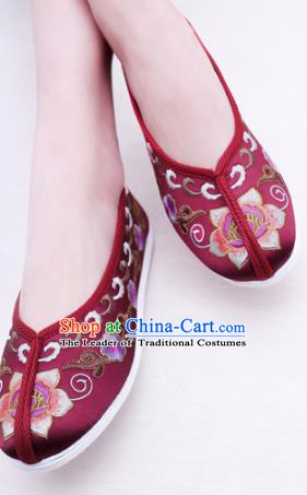 Chinese Traditional Handmade Embroidery Shoes Purplish Red Embroidered Shoes for Women