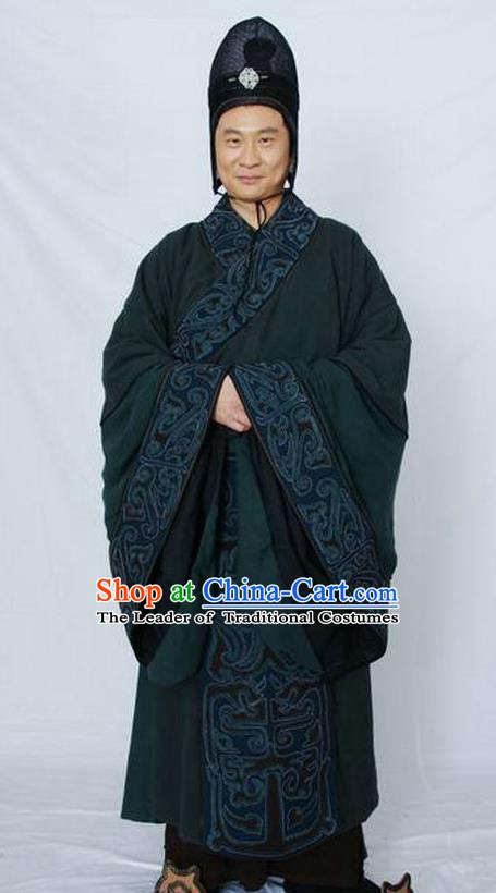 Chinese Ancient Qin Dynasty Prime Minister Traitor Minister Zhao Gao Replica Costume for Men