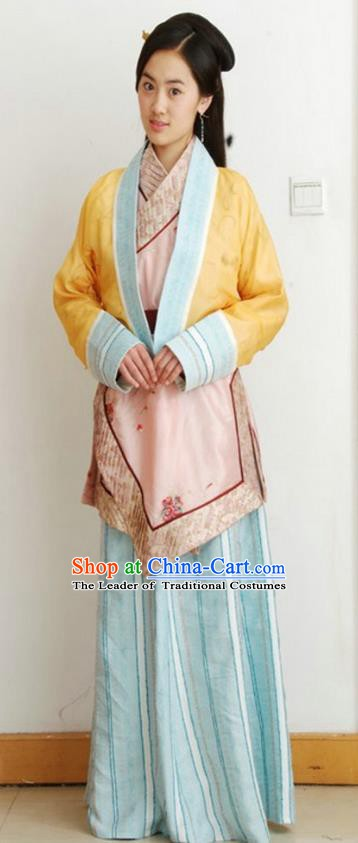 Chinese Ancient Qin Dynasty Young Lady Hanfu Dress Replica Costume for Women