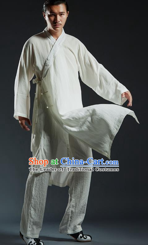Top Grade Kung Fu Costume Martial Arts Training White Uniform Gongfu Wushu Tang Suit Clothing for Men