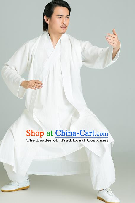 Top Grade Kung Fu Costume Martial Arts Training White Long Gown Gongfu Wushu Tang Suit Clothing for Men