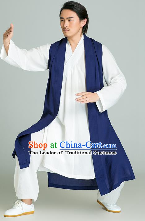 Top Grade Kung Fu Costume Martial Arts Training Blue Long Gown Gongfu Wushu Tang Suit Clothing for Men