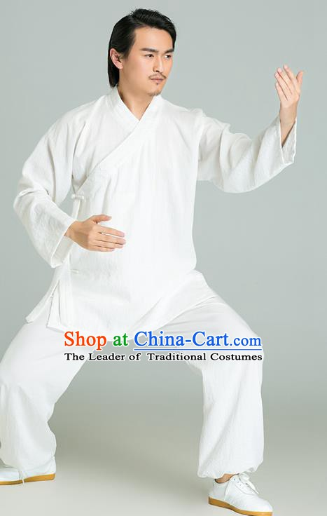 Top Grade Kung Fu Costume Martial Arts Training Gongfu Wushu Tang Suit White Clothing for Men