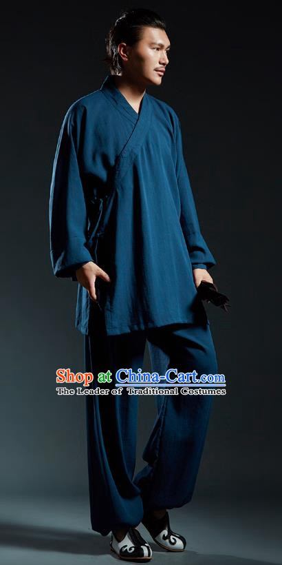 Top Grade Kung Fu Navy Costume Martial Arts Training Gongfu Wushu Tang Suit Clothing for Men
