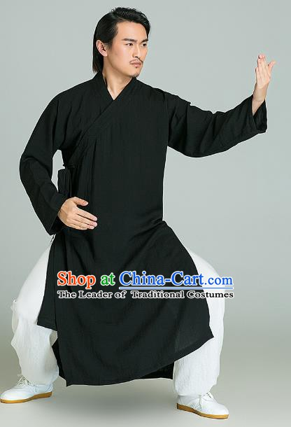 Top Grade Linen Kung Fu Costume Black Long Robe Martial Arts Training Gongfu Wushu Tang Suit Clothing for Men