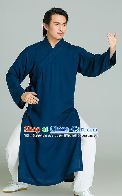 Top Grade Linen Kung Fu Costume Blue Long Robe Martial Arts Training Gongfu Wushu Tang Suit Clothing for Men