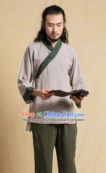 Top Grade Kung Fu Costume Grey Linen Suit Martial Arts Training Gongfu Wushu Tang Suit Clothing for Men
