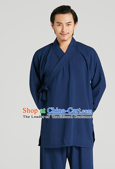 Top Grade Kung Fu Costume Martial Arts Training Blue Suits Gongfu Wushu Tang Suit Clothing for Men