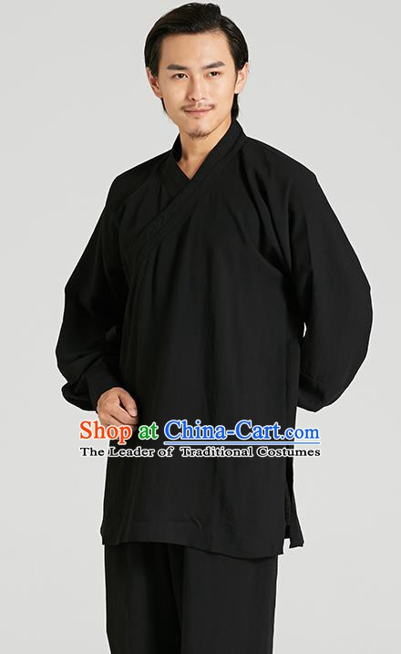 Top Grade Kung Fu Costume Martial Arts Training Black Suits Gongfu Wushu Tang Suit Clothing for Men