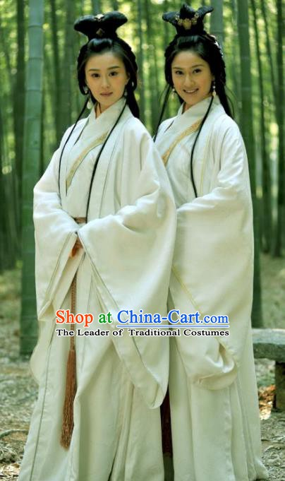 Ancient Chinese Three Kingdoms Period Beauty Xiao Qiao Hanfu Dress Replica Costume for Women