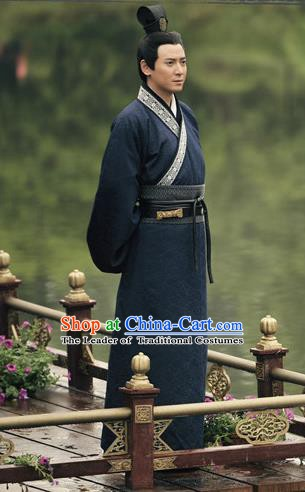 Traditional Chinese Han Dynasty Young General Li Gan Replica Costume for Men