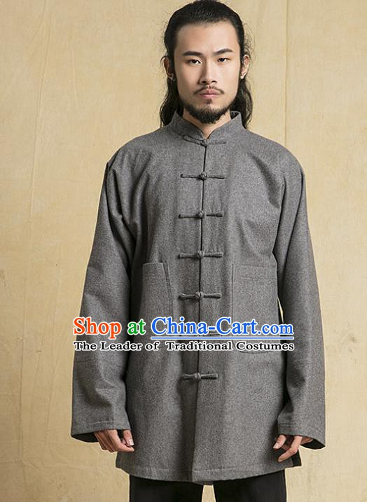 Chinese Kung Fu Martial Arts Costume Grey Tang Suits Jacket Gongfu Wushu Tai Chi Clothing for Men