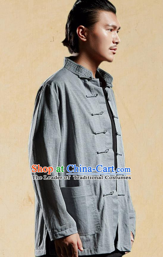 Chinese Kung Fu Martial Arts Shirts Costume Tang Suits Grey Coats Gongfu Wushu Tai Chi Clothing for Men