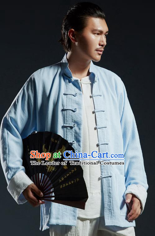 Chinese Kung Fu Martial Arts Gongfu Costume Blue Tang Suits Coats Wushu Tai Chi Clothing for Men