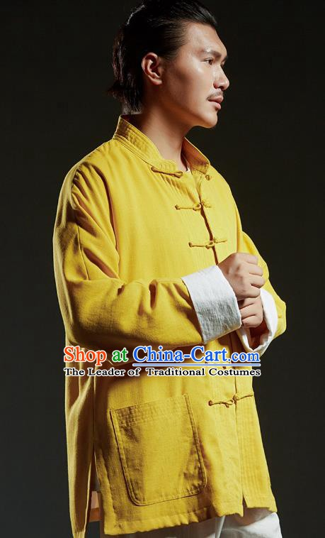 Chinese Kung Fu Martial Arts Gongfu Costume Yellow Tang Suit Coats Wushu Tai Chi Clothing for Men