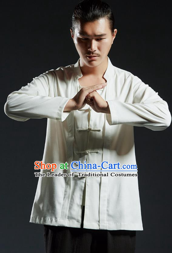 Chinese Kung Fu Martial Arts Gongfu Costume Tang Suit White Shirts Wushu Tai Chi Clothing for Men